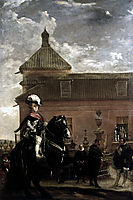 Prince Baltasar Carlos with the Count Duke of Olivares at the Royal Mews, c.1636, velazquez