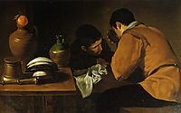 Two Young Men Eating At A Humble Table, c.1622, velazquez