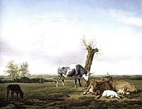 Cattle and Goats in a Meadow, 1658, veldeadriaen