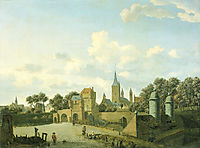 The church of St. Severin in Cologne in a fictive setting, 1672, veldeadriaen