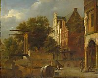 Cityscape with Drawbridge, 1672, veldeadriaen