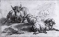 A Cow and Three Sheep, veldeadriaen