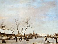 Frozen Canal with Skaters and Hockey Players, 1668, veldeadriaen