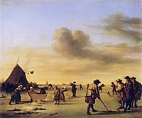 Golfers on the Ice near Haarlem, 1668, veldeadriaen