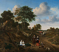 Portrait of a couple with two children and a nursemaid in a landscape , 1667, veldeadriaen