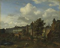 View of the ancient castle of the Dukes of Burgundy in Brussels, 1672, veldeadriaen