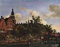 View of Oudezijds Voorburgwal with the Oude Kerk in Amsterdam, c.1670, veldeadriaen