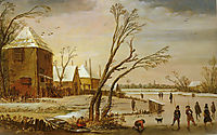 A Frozen River with Skaters, 1619, veldeesaias
