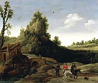 A landscape with travellers crossing a bridge before a small dwelling, veldeesaias