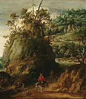 Mountainous landscape with traveller, c.1620, veldeesaias