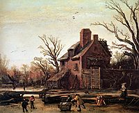 Winter landscape with farmhouse, veldeesaias