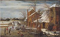 Winter scene with skaters, veldeesaias