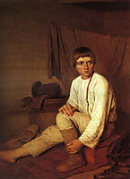 Peasant Boy Putting on Bast Sandals, venetsianov