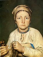 A Peasant Woman, Combing Flax (Anisia), 1822, venetsianov