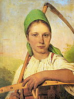 A Peasant Woman with Scythe and Rake, 1824, venetsianov