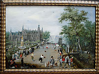 A Game of Handball with Country Palace in Background, 1614, venne