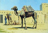 Camel in the courtyard of caravanserai, 1870, vereshchagin