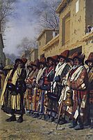 Chorus of Dervishes, begging. Tashkent, 1870, vereshchagin