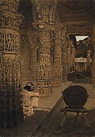 The colonnade in the Jain temple at Mount Abu in the evening, 1876, vereshchagin
