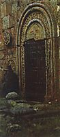 The entrance door to the church under the Kazbek, 1897, vereshchagin