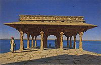 Evening on the lake. One of the pavilions on the marble promenade in Radzhnagar (Principality of Udaipur), vereshchagin