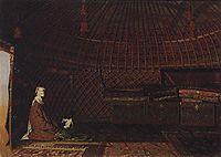 The interior of the yurt of rich Kirghiz, 1870, vereshchagin