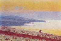 Lake Issyk Kul in the evening, vereshchagin