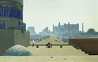 Main Street in Samarkand, from the height of the citadel in the early morning, vereshchagin