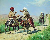 Mullah Rahim and Mullah Karim quarrel on his way to the market, 1873, vereshchagin