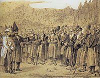 Presentation of the bosses (Russian officer and Caucasians), 1864, vereshchagin