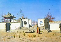 The ruins of the Chinese shrine. Ak-Kent, 1870, vereshchagin