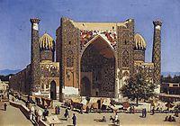 Shir Dor madrasah in Registan Square in Samarkand, 1870, vereshchagin