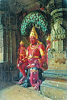 Statue of Vishnu in the temple of Indra in Ellora, 1876, vereshchagin
