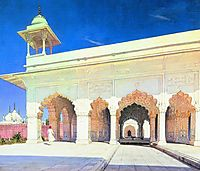 Throne Hall of the Great Mughal Shah Jahan and Aurang-Zeb in Delhi Fort , 1875, vereshchagin