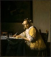 A lady writing , c.1666, vermeer