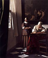 Lady writing a letter with her maid, 1670-1671, vermeer