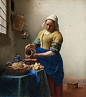 Milkmaid or the kitchen maid, 1658, vermeer