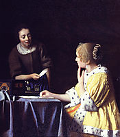 Mistress and maid, 1666-1667, vermeer