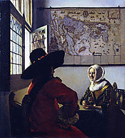 Officer and a Laughing Girl, ~1657, vermeer