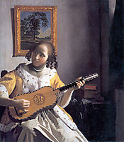 Youg woman playing a guitar, c.1672, vermeer