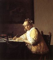 Young Woman Writing a Letter, 1665-1666, vermeer