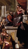 Holy Family with Sts Anthony Abbot, Catherine and the Infant John the Baptist, 1551, veronese