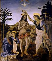 The Baptism of Christ, c.1475, verrocchio