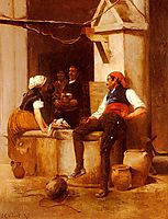 Chatting by the Fountain, vibert