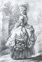 Marie Antoinette walking in a garden, vigeelebrun