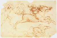 Galloping Rider and other figures, 1503-1504, vinci