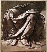 Garment study for a seated figure, 1470-1484, vinci