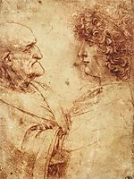 Heads of an old man and a youth, 1495-1500, vinci