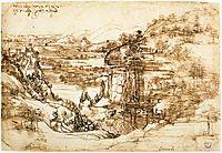 Landscape drawing for Santa Maria della Neve on 5th August 1473, 1473, vinci