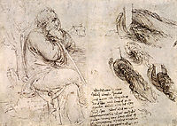 A seated man, and studies and notes on the movement of water, c.1510, vinci